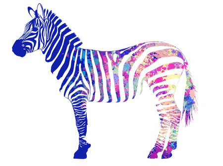 illustration animal Zebra with  stripes in background Banco de Imagens