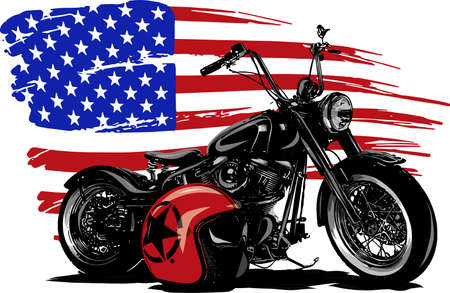 Met de hand getekend en geïnkt vintage Amerikaanse chopper motorfiets met Amerikaanse vlag Vector Illustratie