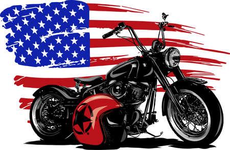 Motocicleta chopper americana vintage dibujada y entintada a mano con bandera americana Ilustración de vector