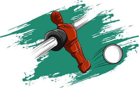 Vector illustration joueur rouge compétition de football de table