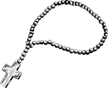 Heilige rozenkrans kralen vector illustratie. Gebed katholieke rozenkrans met een kruis