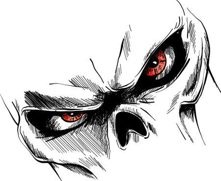 Skull with red eyes Cartoon Vector Image