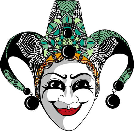 Decorated  jester mask with bells and golden glitter, sketch style vector illustration