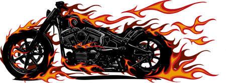 Flaming Bike Chopper Ride Front View Illusztráció