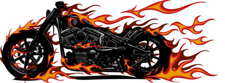 Flaming Bike Chopper Ride Front View Illustration