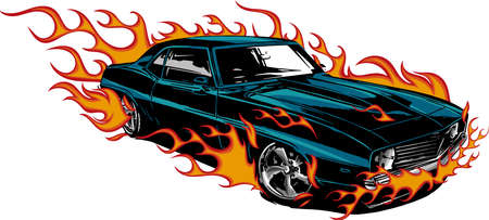 Car muscle old 70s vector illustration with flames Archivio Fotografico
