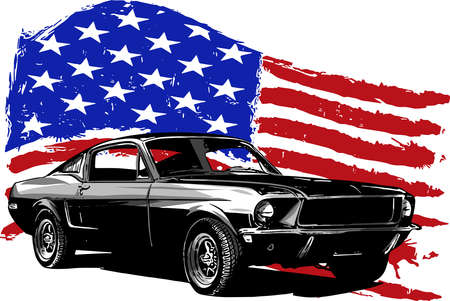 vector graphic design illustration of an American muscle car Illustration