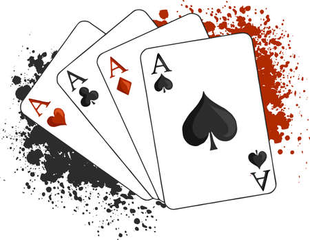 Four aces poker playing cards on white background. Carton hand-drawn illustration.