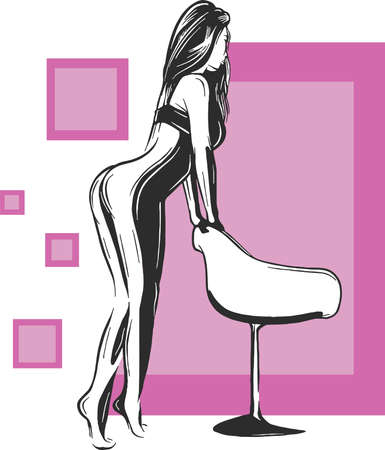 Graceful and slim woman with expressive eyes and nice hair sitting on chair, hand drawing illustration Çizim