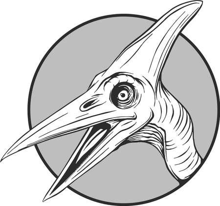 sketch of a cartoon dinosaur in vector illustartion Çizim