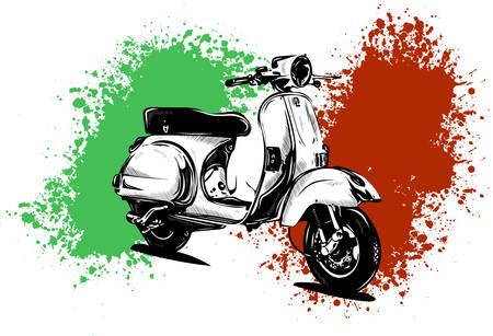 Ilustración de vector de un scooter italiano con bandera