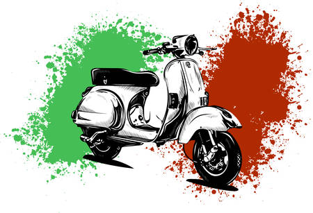 Vector illustration of an Italian scooter with flag Archivio Fotografico - 110703230