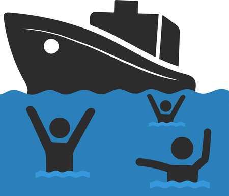 The Refugee Family with Children. Sailing to Europe on the Boat. Land Transition and Life in the Refugee Camp. European Migrant Crisis Concept. Vector Illustration, isolated. Stock fotó