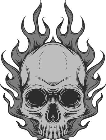 Skull on Fire with Flames Vector Illustration