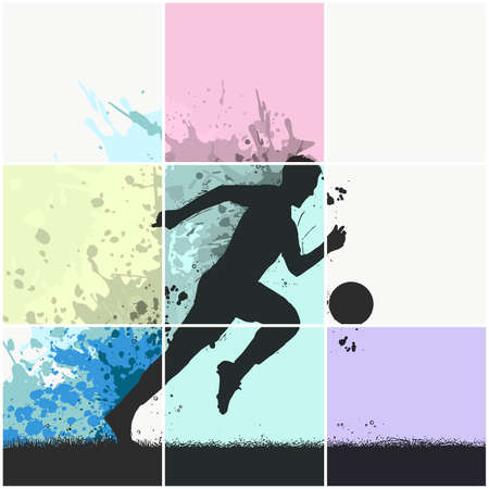 pop art Soccer player kicking ball. illustration of sport