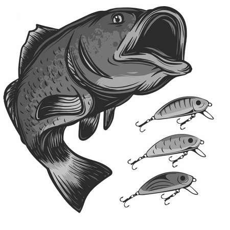 pesce pesca logo ed esche isolati su bianco illustrazione vettoriale