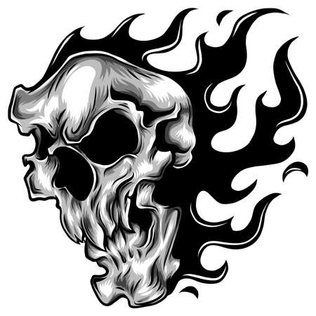 Skull on Fire Flames Vector Illustration