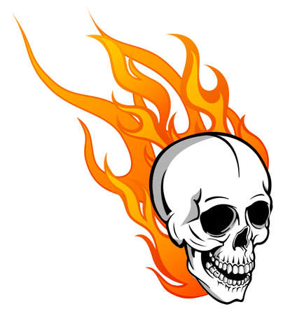 Skull on Fire with Flames Illustration
