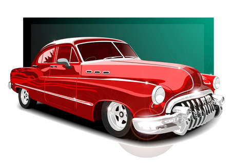 vector illustartion vintage red car