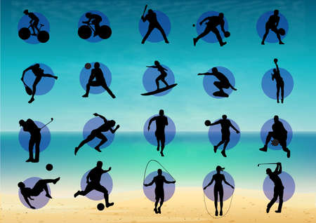 Illustration represents pictogram of varied sports, several games. Ideal for sports and institutional materials Stock Photo