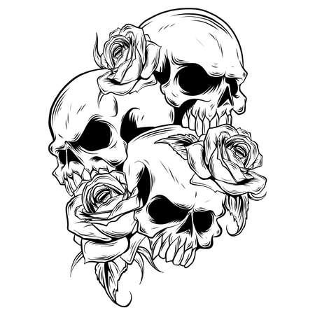 ilustración vectorial de rosas y calaveras