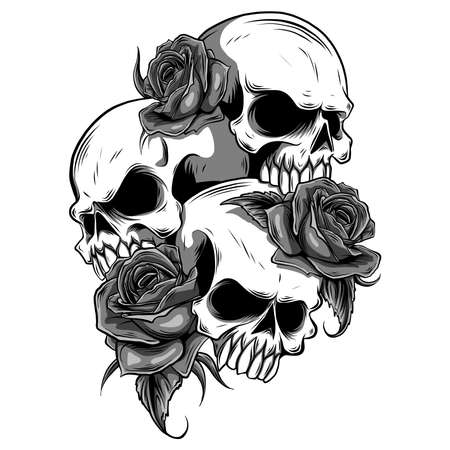 Human skull with roses drawn in tattoo style.