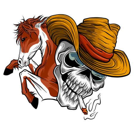 vector illustration skull cowboy ride a horse  イラスト・ベクター素材