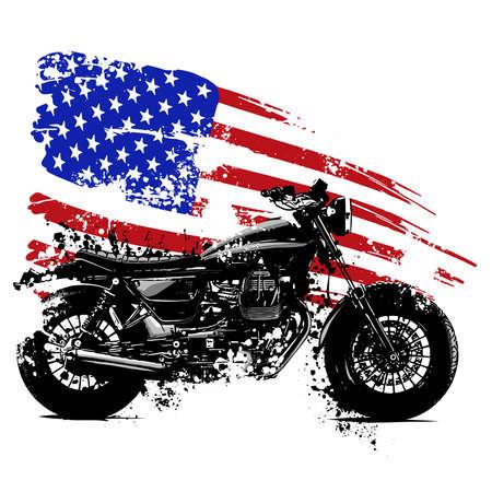 Vetor Illustration Amerikanisches Chopper-Motorrad mit amerikanischer Flagge