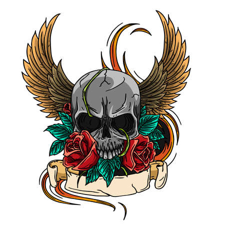 skull symbol tattoo design crown, laurel wreath, wings, roses 向量圖像