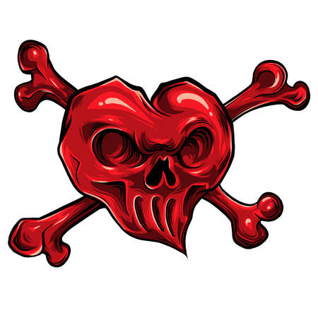 vector illustration of red skull hearth 向量圖像