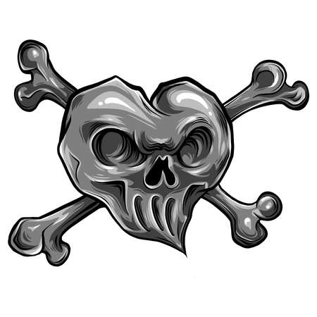 red heart skull design icon flat