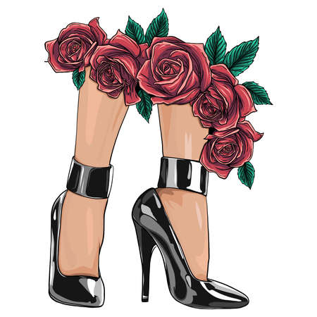 Vector girls in high heels. Fashion illustration. Female legs in shoes. Trendy picture in vogue style. Fashionable women. Stylish ladies.