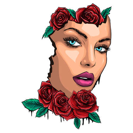 vector illustartion face young lady with roses Archivio Fotografico