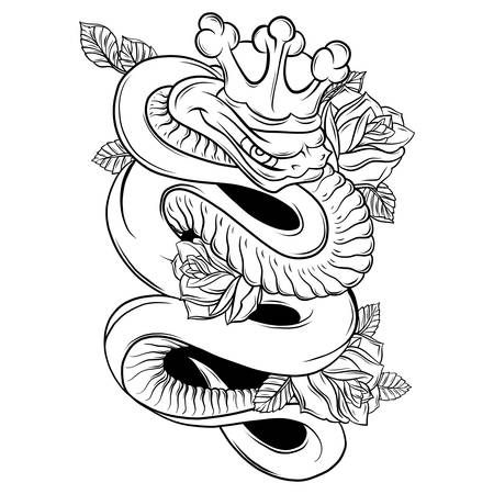 Vector Snake and Rose Traditional Tattoo Art
