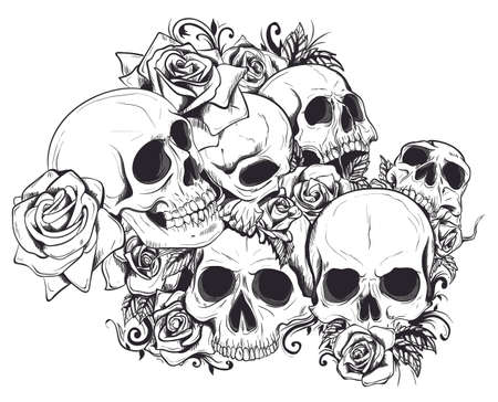 Nahtloser Vektor-Schädel im Blumen-Muster Vektorgrafik