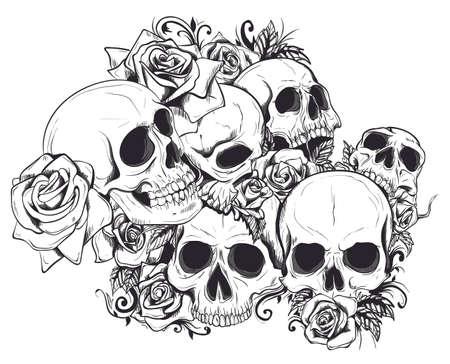 Seamless Vector Skulls In Flowers Pattern Ilustração
