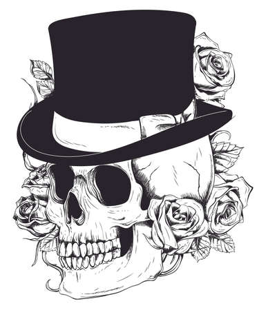 Gentleman s skull. Vintage Skull. Old school tattoo. Skull surrounded by roses with ribbon