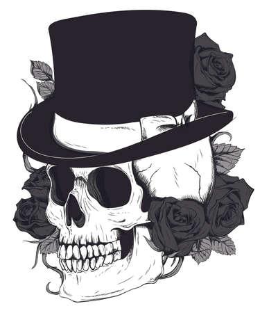 Skull in a hat-cylinder. Black and white vector Ilustração