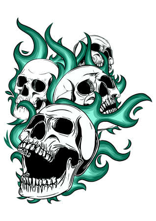 art Skull on Fire with Flames Illustration Imagens