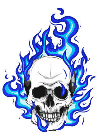 Skull on Fire Flames Vector Illustration