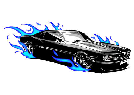 vector muscle car with flames Crazy race 写真素材 - 115440548