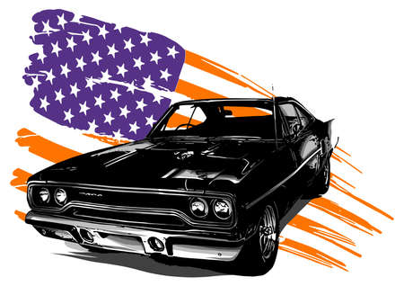 vector graphic design illustration of an American muscle car 免版税图像