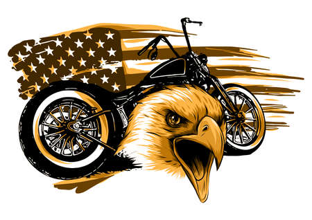 illustraton a motorcycle with the head eagle and american flag