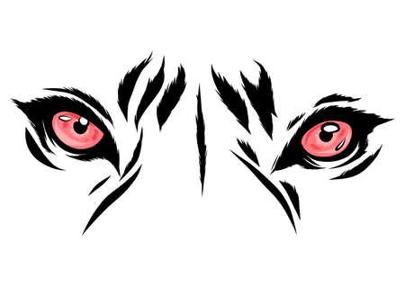 vecteur, tigre, yeux, mascotte, graphique