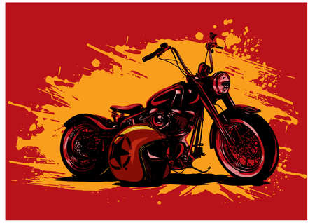 vector illustration Vintage Chopper Motorcycle Poster with helme