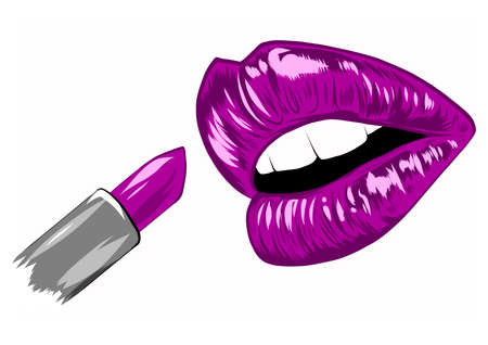 Red lipstick in the open mouth with glossy melted lips. Vector illustration