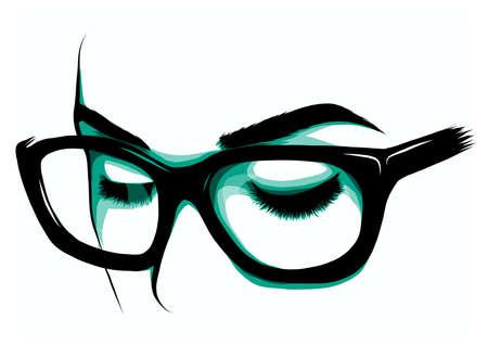 Beautiful Women Eyes with make up Ilustração