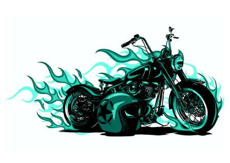 Flaming Bike Chopper Ride Front View Ilustração