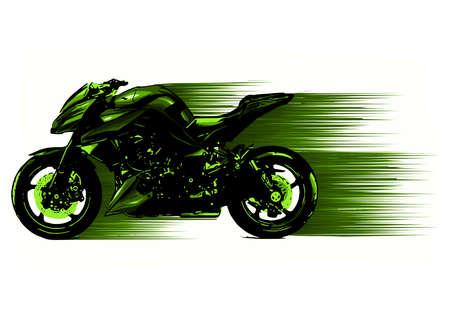 Piloto de motocicleta estilizada artística en movimiento. ilustración Ilustración de vector
