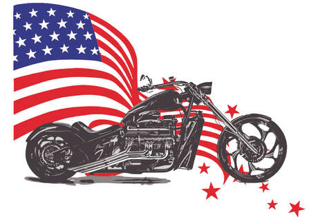 Hand drawn and inked vintage American chopper motorcycle